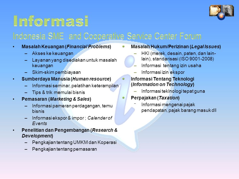 Informasi Indonesia SME and Cooperative Service Center Forum