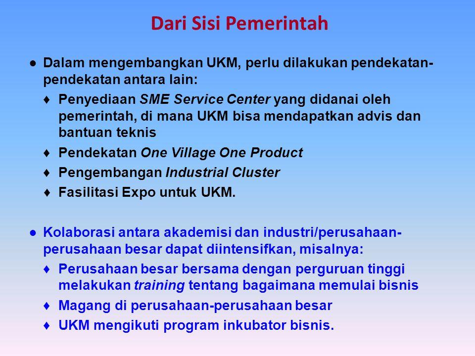 Dari Sisi Pemerintah ● Dalam mengembangkan UKM, perlu dilakukan pendekatan-pendekatan antara lain: