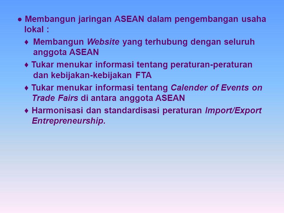 ● Membangun jaringan ASEAN dalam pengembangan usaha lokal :