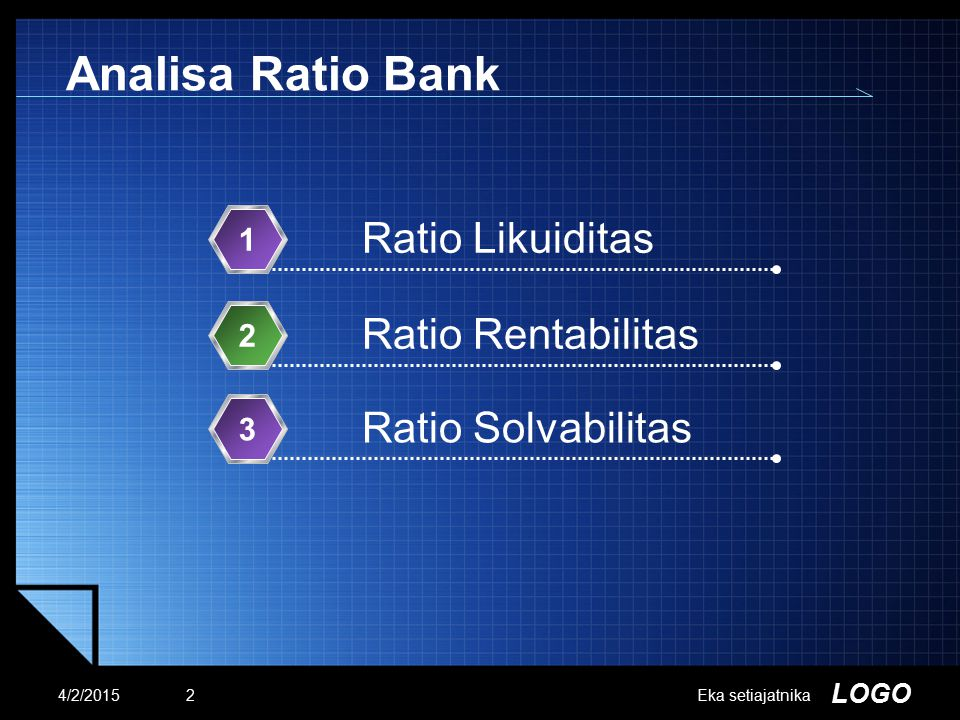 Analisa Ratio Bank Ratio Likuiditas Ratio Rentabilitas