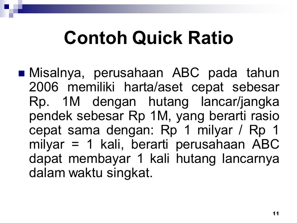 Contoh Quick Ratio