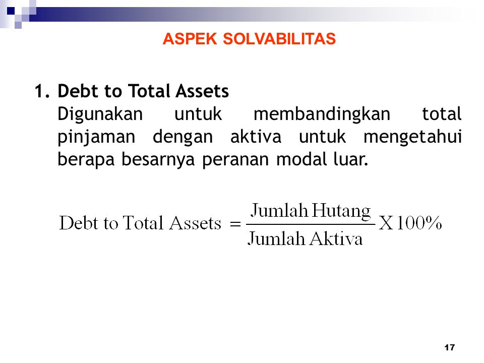 ASPEK SOLVABILITAS Debt to Total Assets.