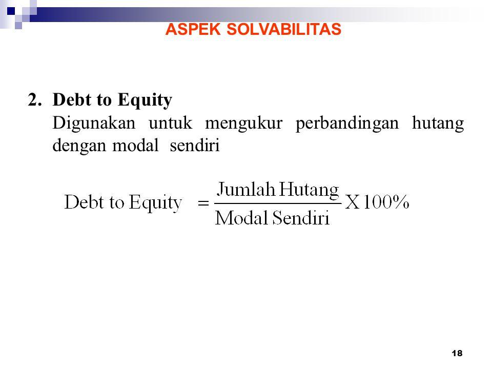 Digunakan untuk mengukur perbandingan hutang dengan modal sendiri