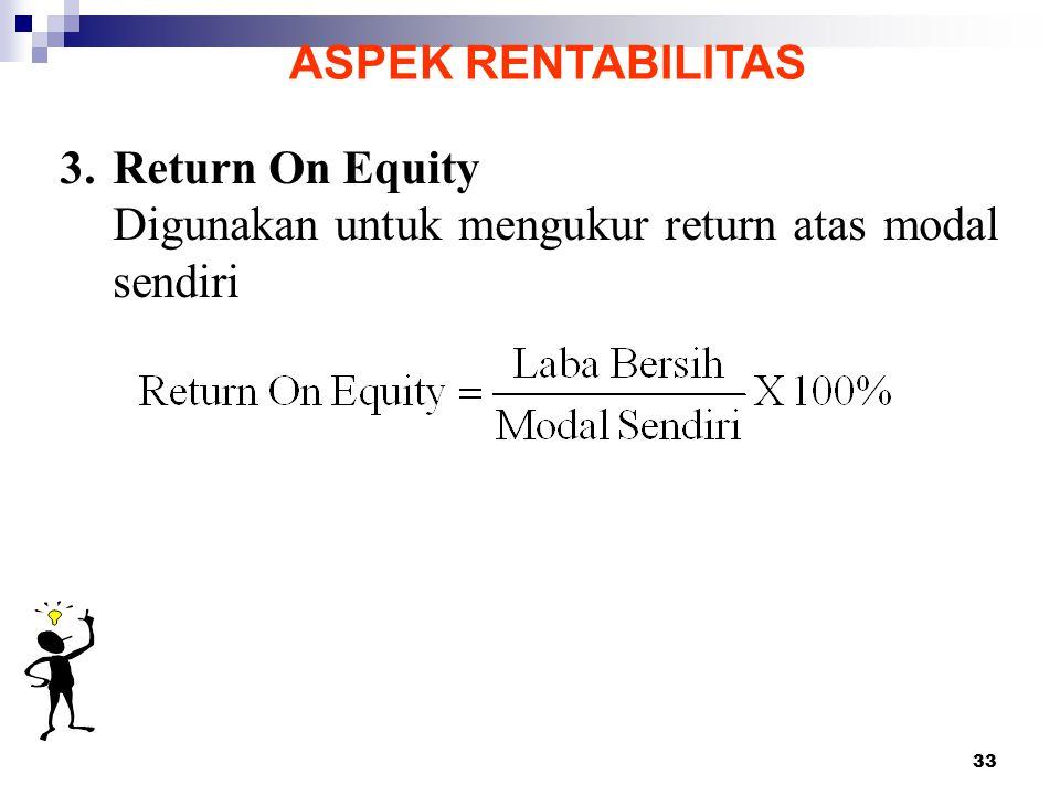 ASPEK RENTABILITAS 3. Return On Equity Digunakan untuk mengukur return atas modal sendiri