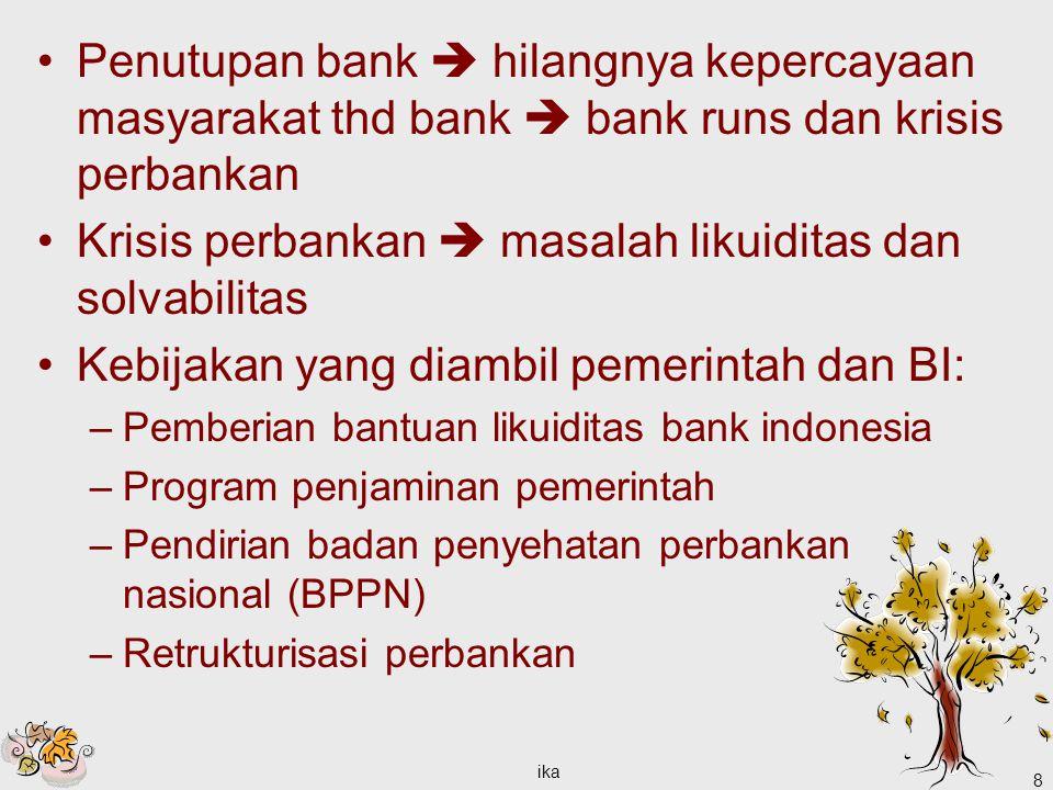 Krisis perbankan  masalah likuiditas dan solvabilitas