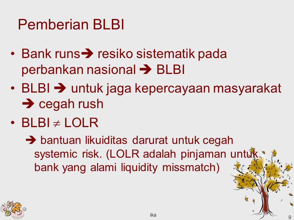 Pemberian BLBI Bank runs resiko sistematik pada perbankan nasional  BLBI. BLBI  untuk jaga kepercayaan masyarakat  cegah rush.