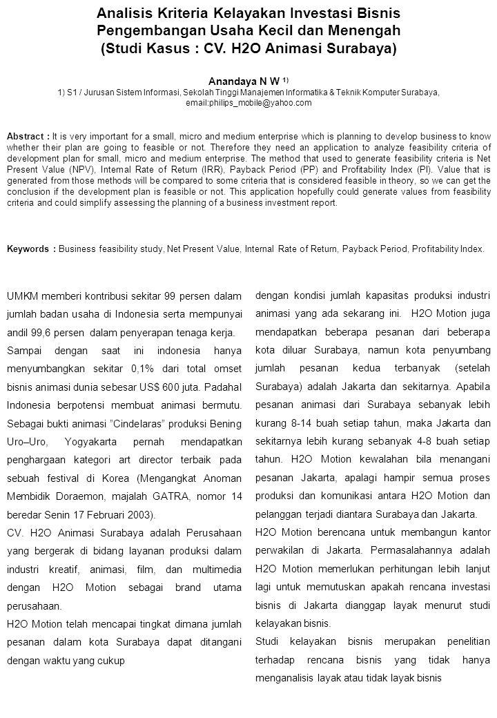 (Studi Kasus : CV. H2O Animasi Surabaya)
