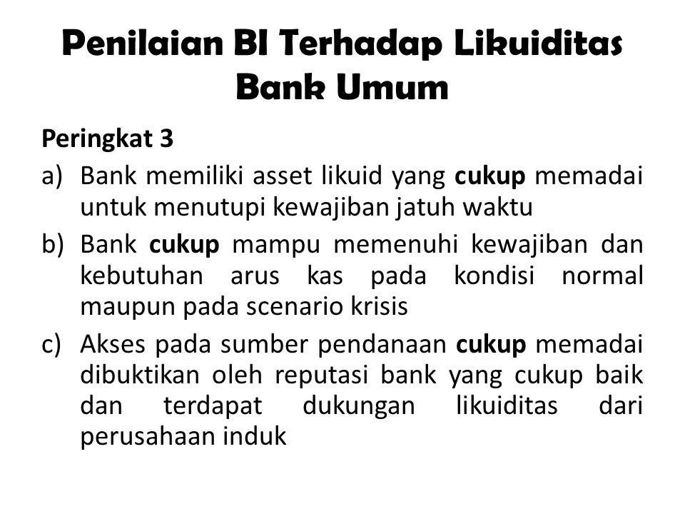Penilaian BI Terhadap Likuiditas Bank Umum