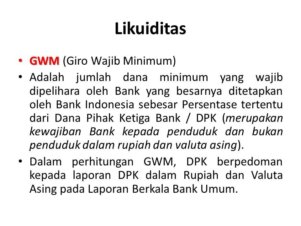 Likuiditas GWM (Giro Wajib Minimum)