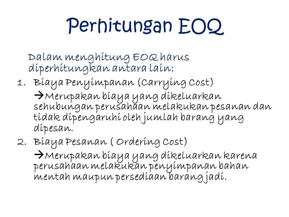 Perhitungan EOQ Dalam menghitung EOQ harus diperhitungkan antara lain: