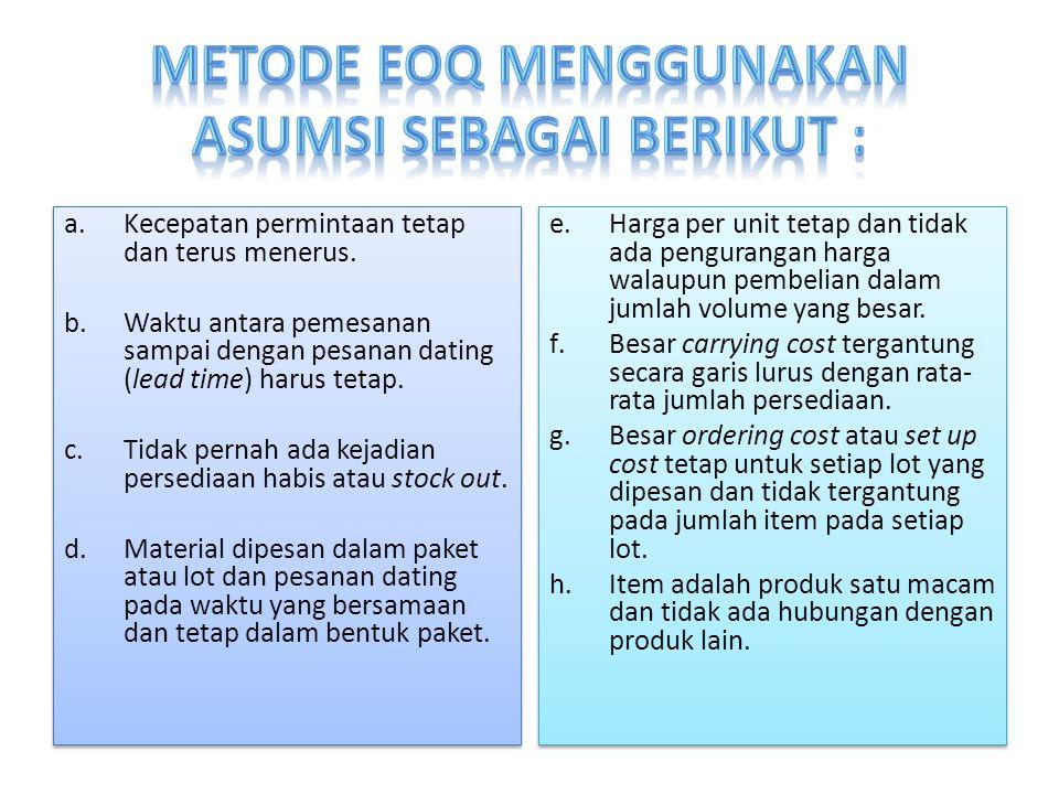 Metode EOQ menggunakan asumsi sebagai berikut :