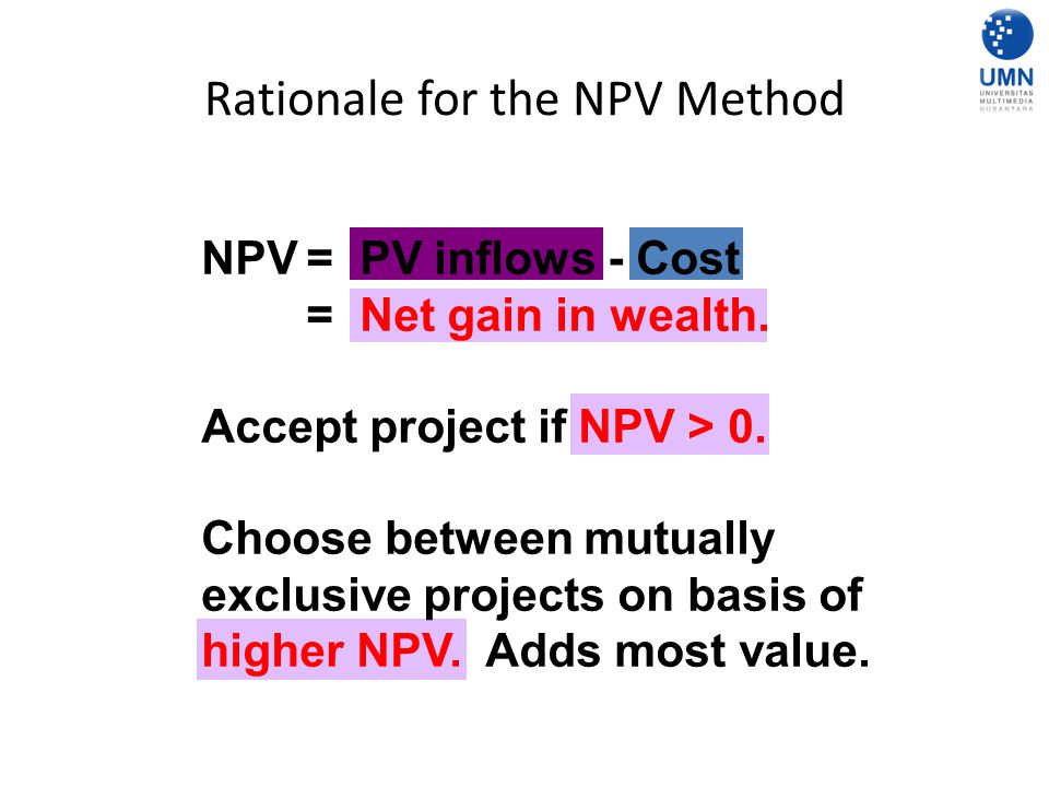 Rationale for the NPV Method