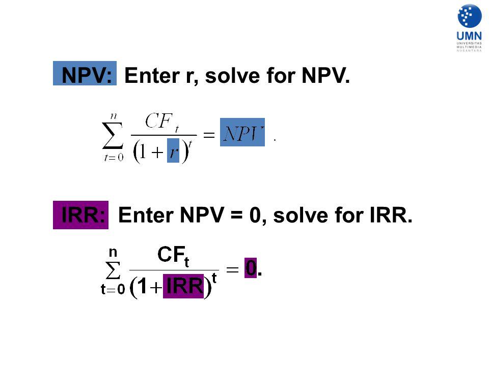 NPV: Enter r, solve for NPV.