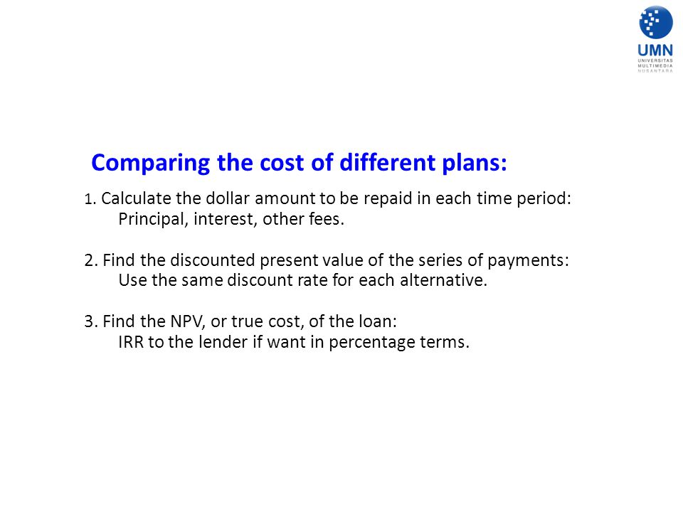 Comparing the cost of different plans: