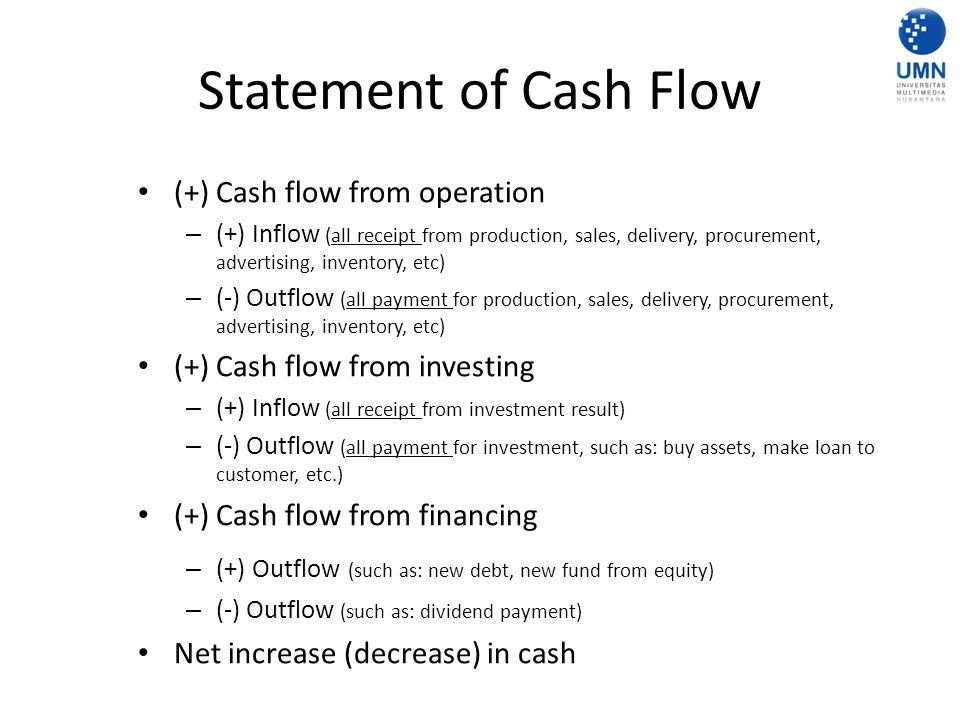 Statement of Cash Flow (+) Cash flow from operation