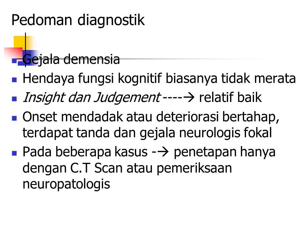 Pedoman diagnostik Gejala demensia