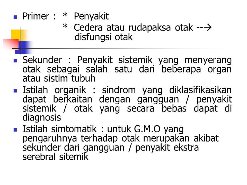Primer : * Penyakit * Cedera atau rudapaksa otak -- disfungsi otak.