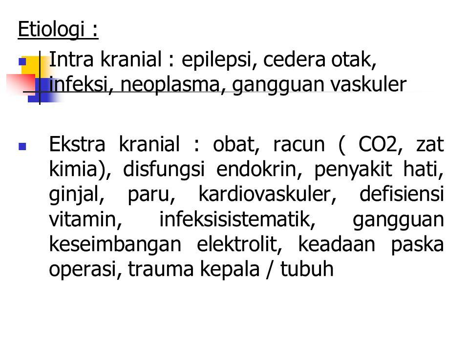 Etiologi : Intra kranial : epilepsi, cedera otak, infeksi, neoplasma, gangguan vaskuler.