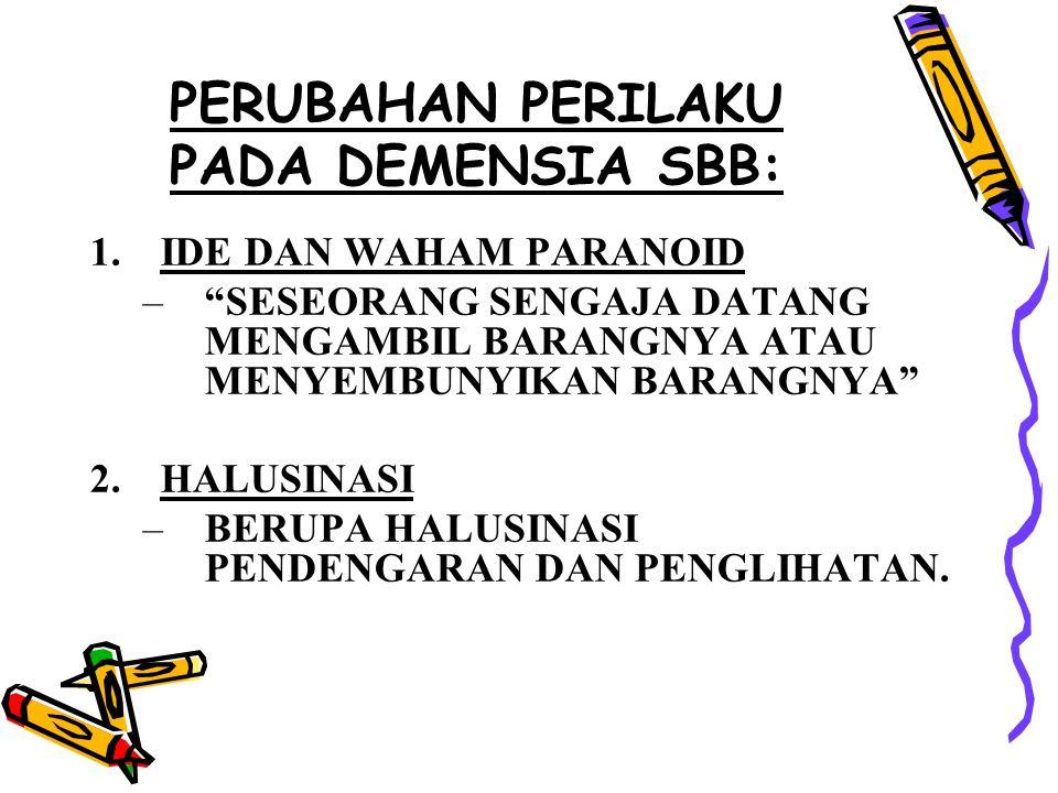 PERUBAHAN PERILAKU PADA DEMENSIA SBB:
