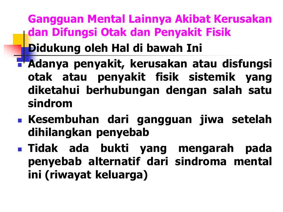 Gangguan Mental Lainnya Akibat Kerusakan dan Difungsi Otak dan Penyakit Fisik