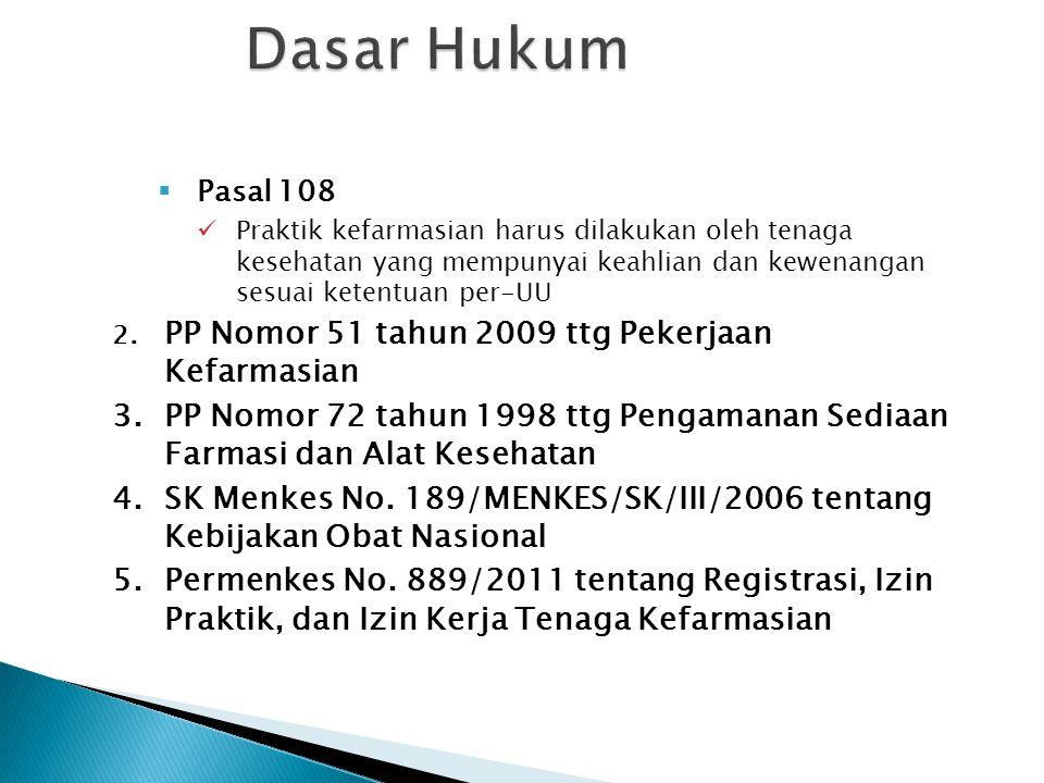Dasar Hukum Pasal 108. Praktik kefarmasian harus dilakukan oleh tenaga kesehatan yang mempunyai keahlian dan kewenangan sesuai ketentuan per-UU.