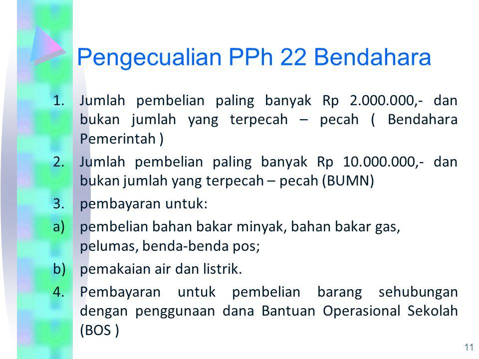 Pengecualian PPh 22 Bendahara