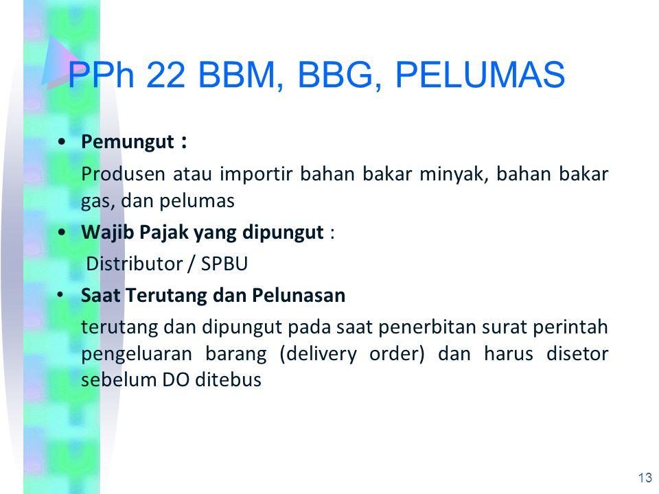 PPh 22 BBM, BBG, PELUMAS Pemungut :