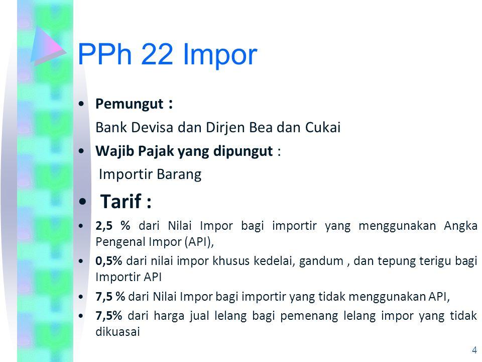 PPh 22 Impor Tarif : Pemungut : Bank Devisa dan Dirjen Bea dan Cukai