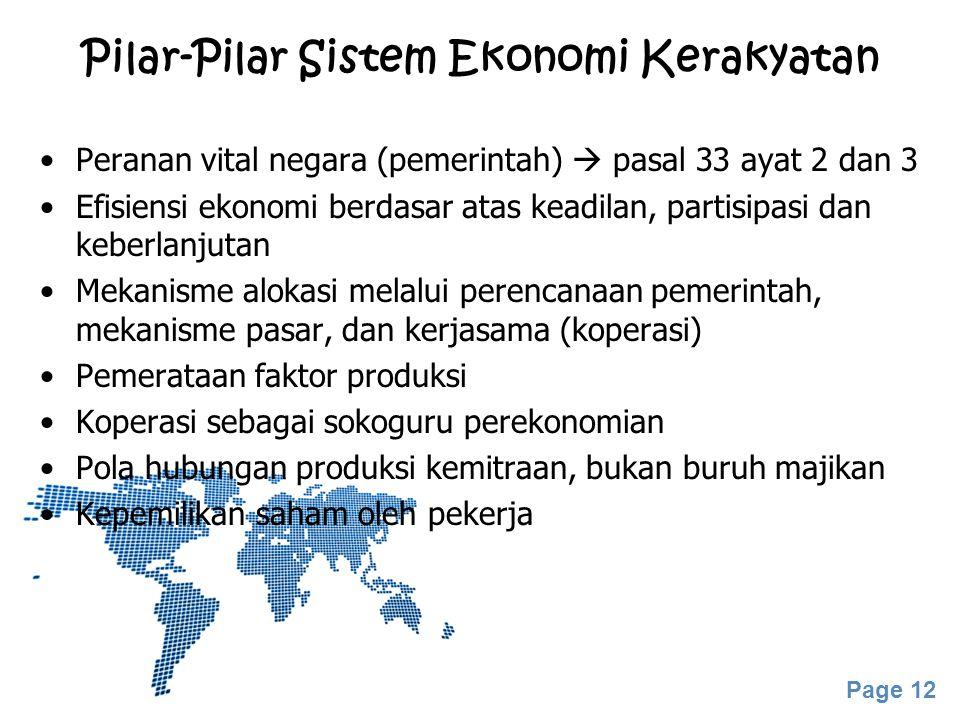 Pilar-Pilar Sistem Ekonomi Kerakyatan