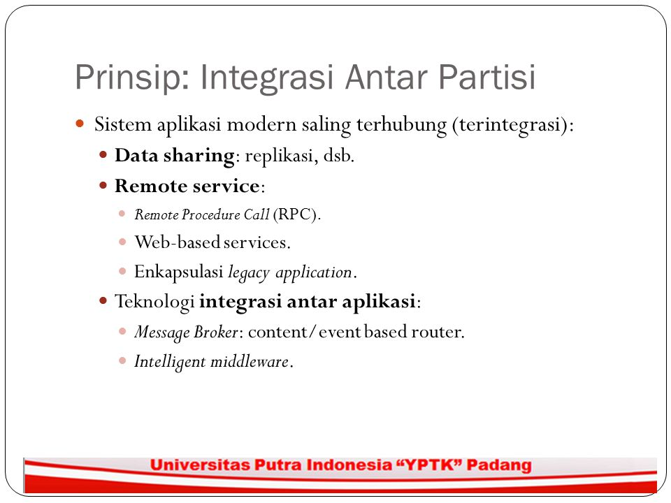 Prinsip: Integrasi Antar Partisi
