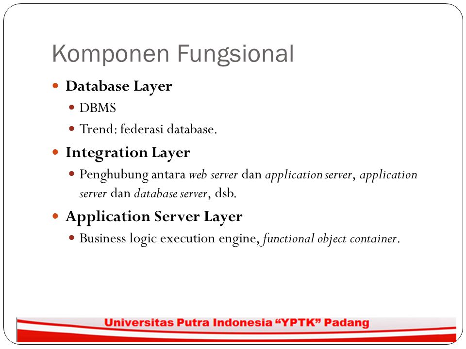 Komponen Fungsional Database Layer Integration Layer