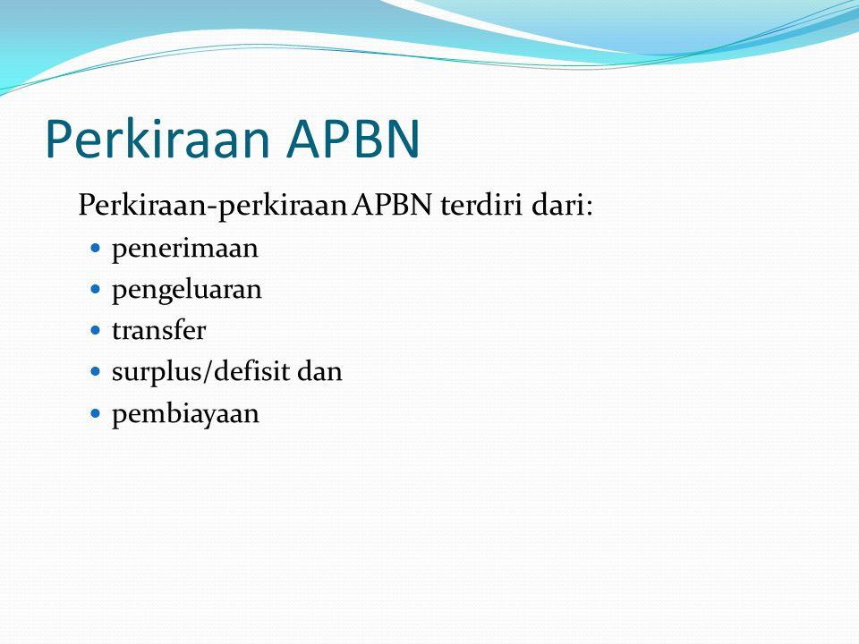 Perkiraan APBN Perkiraan-perkiraan APBN terdiri dari: penerimaan