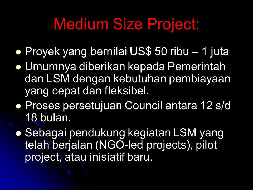 Medium Size Project: Proyek yang bernilai US$ 50 ribu – 1 juta