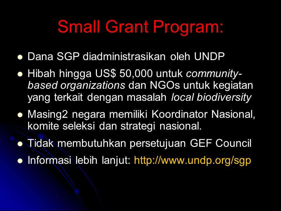 Small Grant Program: Dana SGP diadministrasikan oleh UNDP