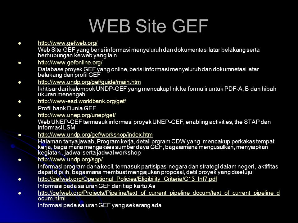 WEB Site GEF http://www.gefweb.org/
