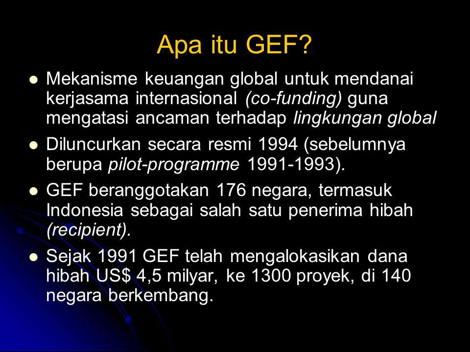 Apa itu GEF Mekanisme keuangan global untuk mendanai kerjasama internasional (co-funding) guna mengatasi ancaman terhadap lingkungan global.