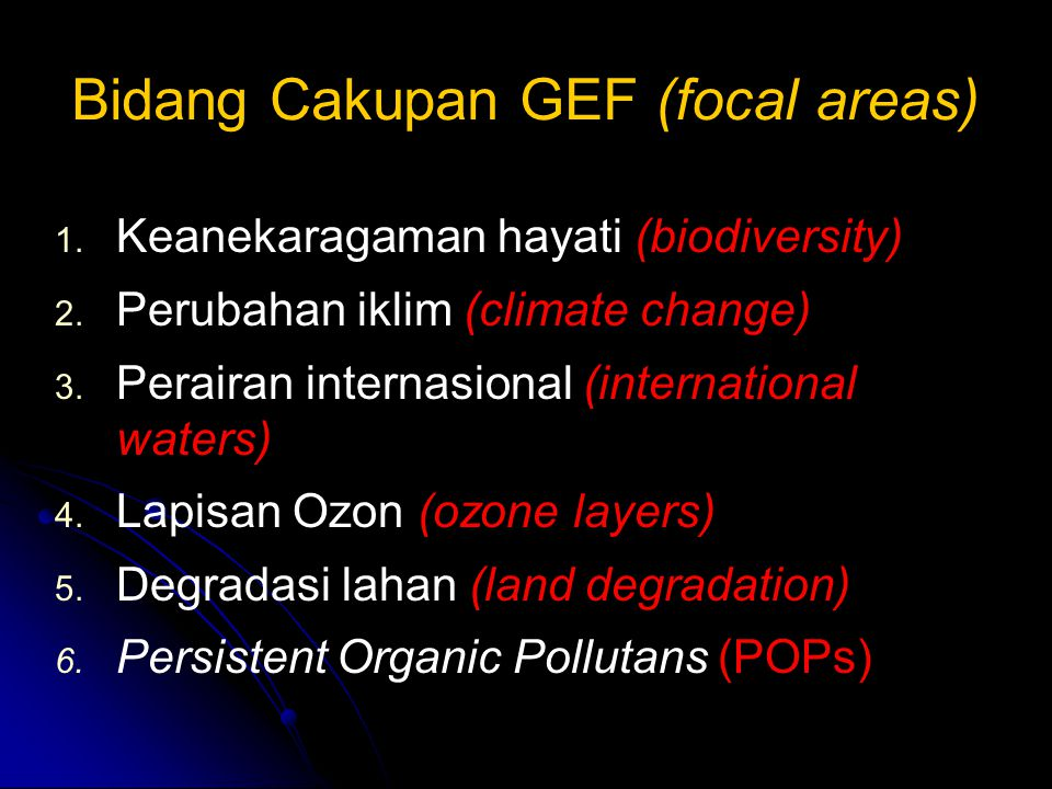Bidang Cakupan GEF (focal areas)
