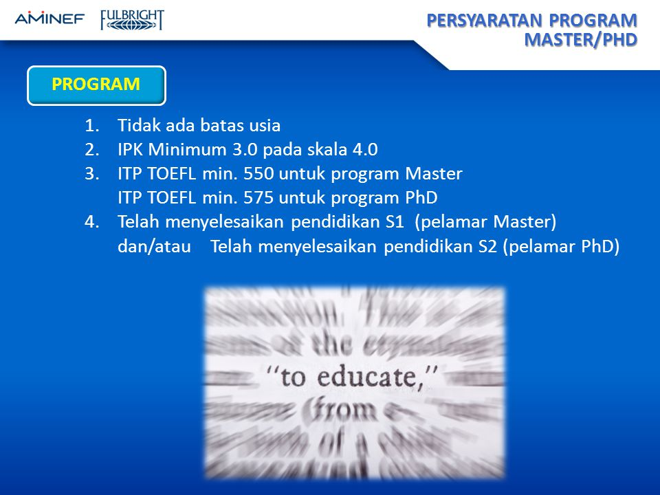 PERSYARATAN PROGRAM MASTER/PHD