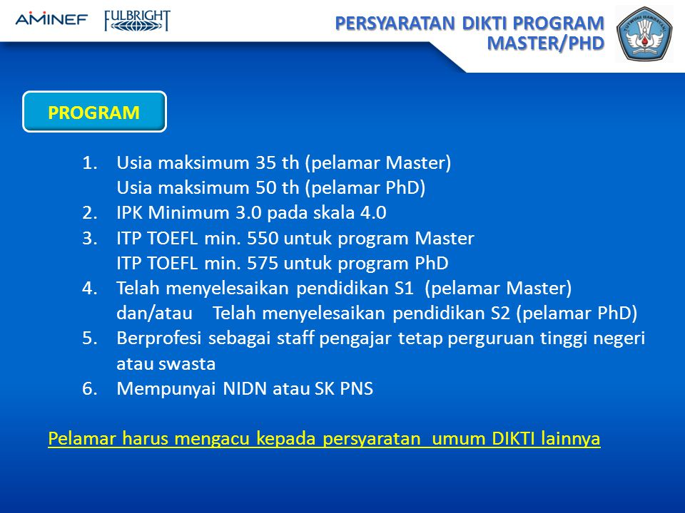PERSYARATAN DIKTI PROGRAM MASTER/PHD