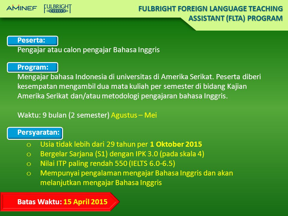 FULBRIGHT FOREIGN LANGUAGE TEACHING