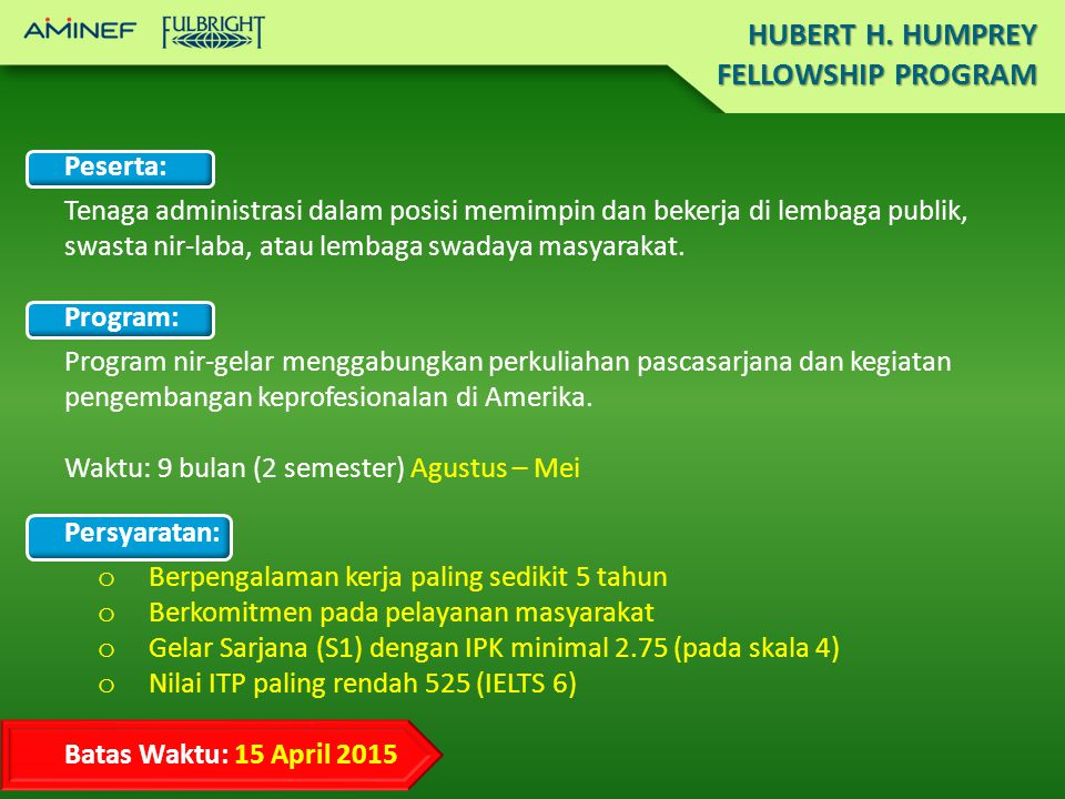 HUBERT H. HUMPREY FELLOWSHIP PROGRAM Peserta: