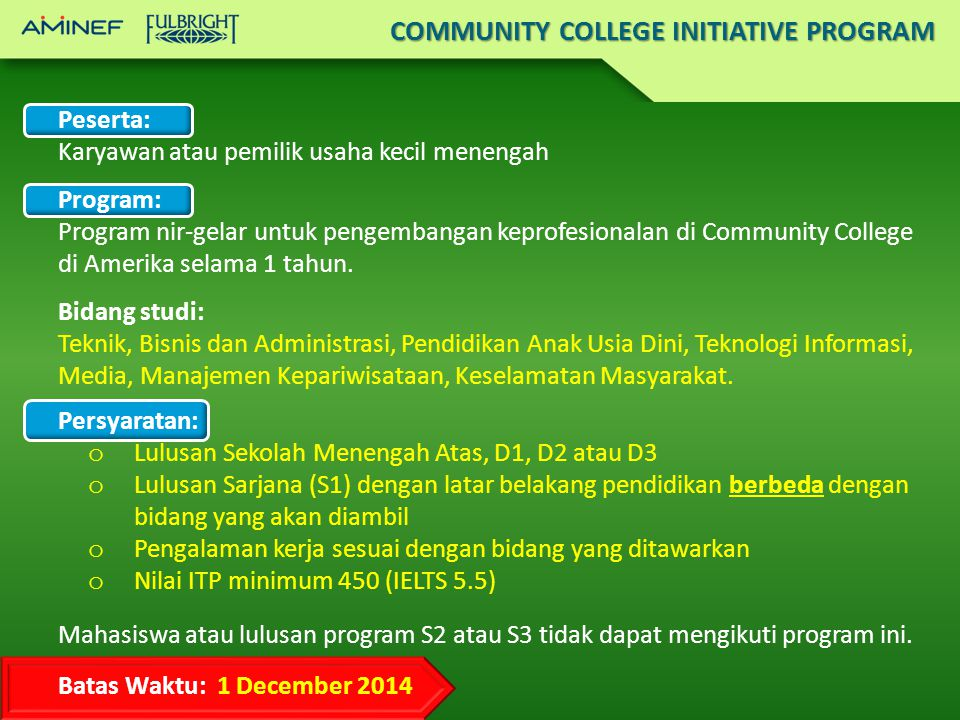 COMMUNITY COLLEGE INITIATIVE PROGRAM