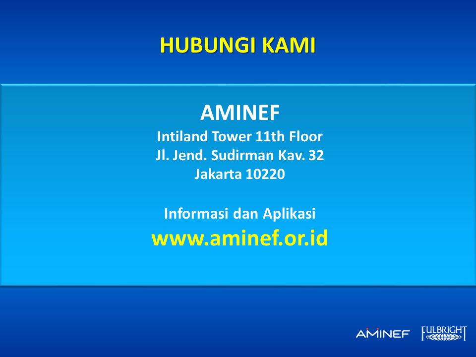 Intiland Tower 11th Floor Informasi dan Aplikasi www.aminef.or.id