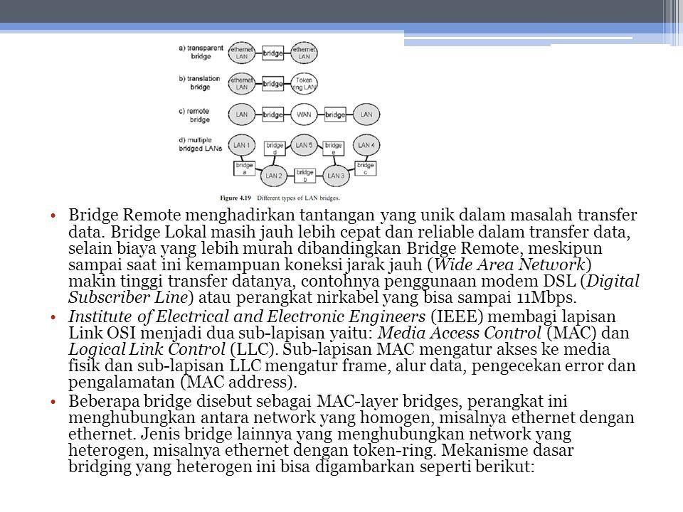 Bridge Remote menghadirkan tantangan yang unik dalam masalah transfer data. Bridge Lokal masih jauh lebih cepat dan reliable dalam transfer data, selain biaya yang lebih murah dibandingkan Bridge Remote, meskipun sampai saat ini kemampuan koneksi jarak jauh (Wide Area Network) makin tinggi transfer datanya, contohnya penggunaan modem DSL (Digital Subscriber Line) atau perangkat nirkabel yang bisa sampai 11Mbps.