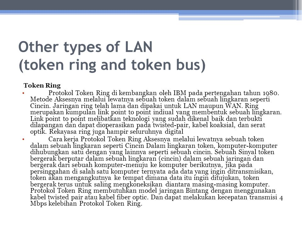 Other types of LAN (token ring and token bus)