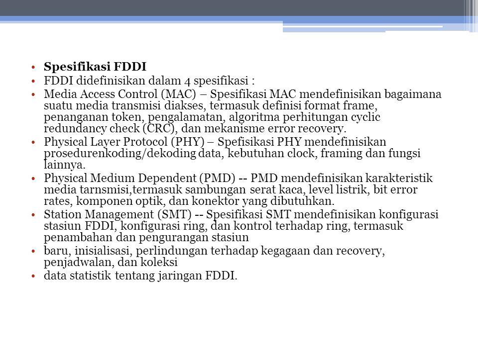 Spesifikasi FDDI FDDI didefinisikan dalam 4 spesifikasi :