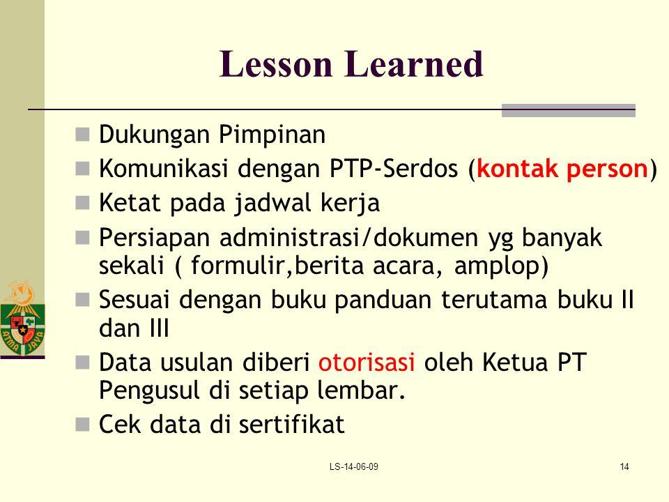 Lesson Learned Dukungan Pimpinan