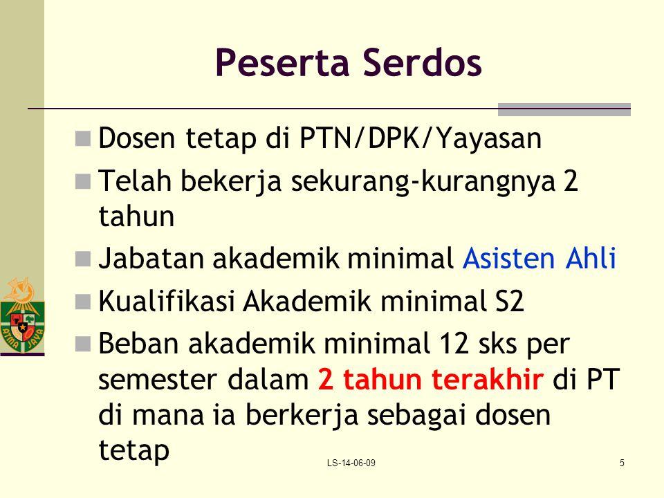 Peserta Serdos Dosen tetap di PTN/DPK/Yayasan