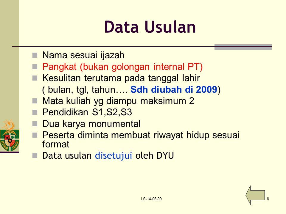 Data Usulan Nama sesuai ijazah Pangkat (bukan golongan internal PT)
