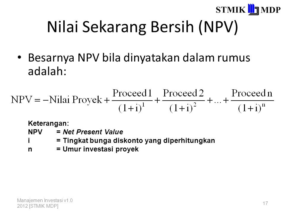 Nilai Sekarang Bersih (NPV)